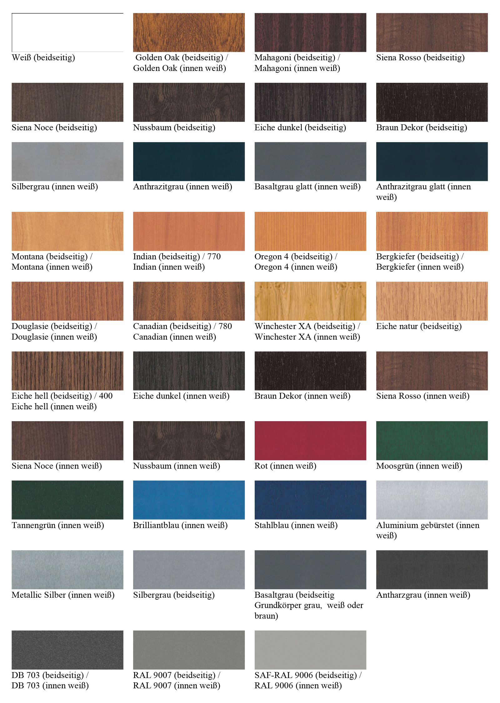 Fenster Farben.Holz Alu Fenster Farben